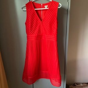 J crew factory red striped eyelet dress